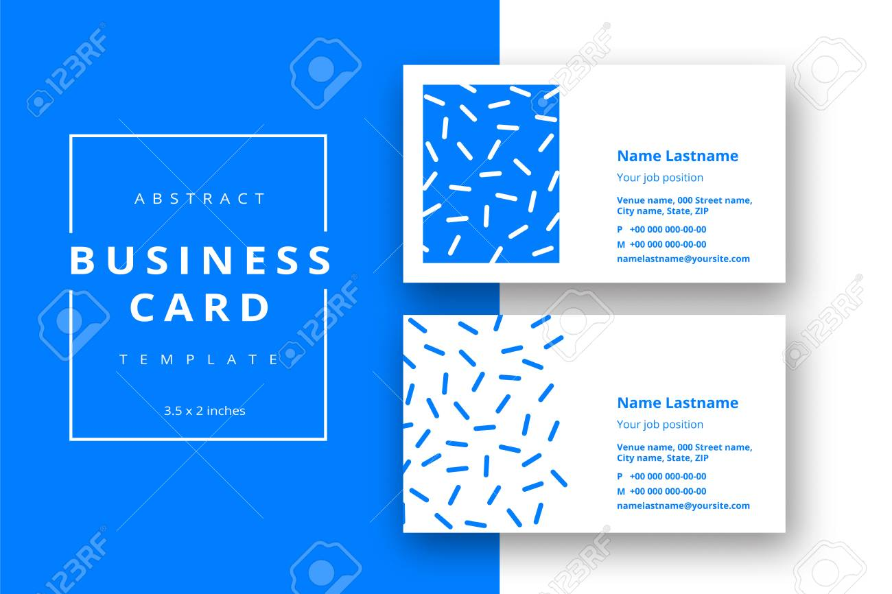 Trendy Minimal Abstract Business Card Template In Blue Color ...