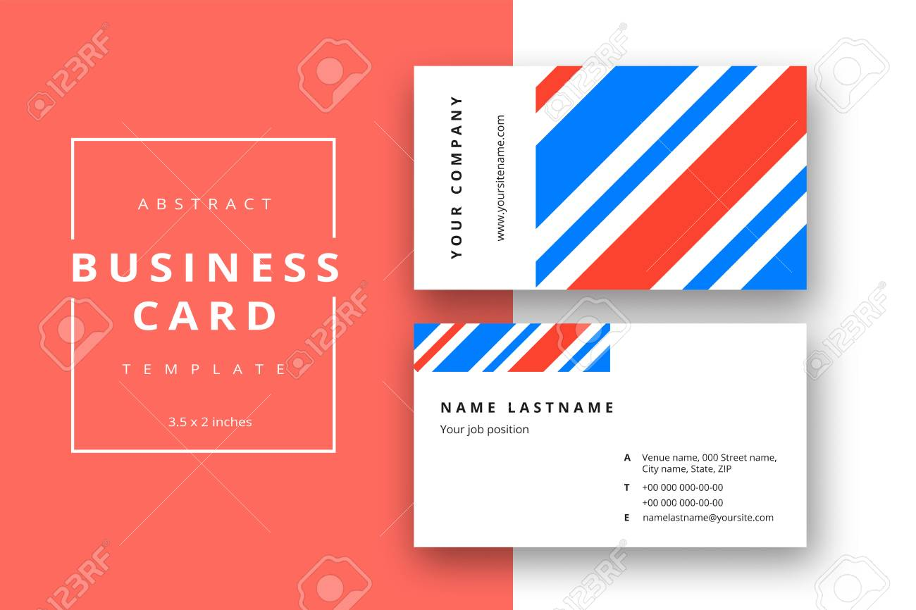 Trendy Minimal Abstract Business Card Template In Blue Color Modern Corporate Stationery Id Layout With