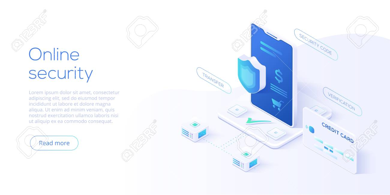 Mobile data security isometric vector illustration. Online payment protection system with smartphone and credit card. Secure bank transaction with password verification via internet. - 108443387
