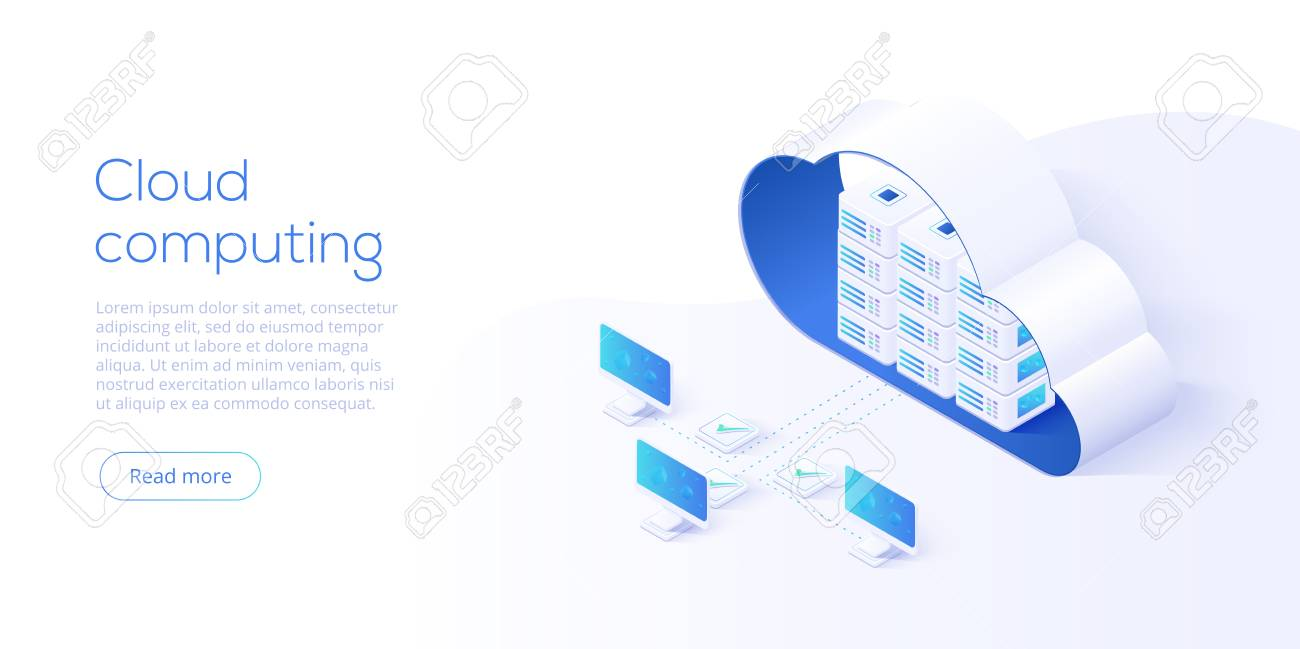 Cloud storage download isometric vector illustration. Digital service or app with data transfering. Online computing technology. 3d servers and datacenter connection network. - 110350196