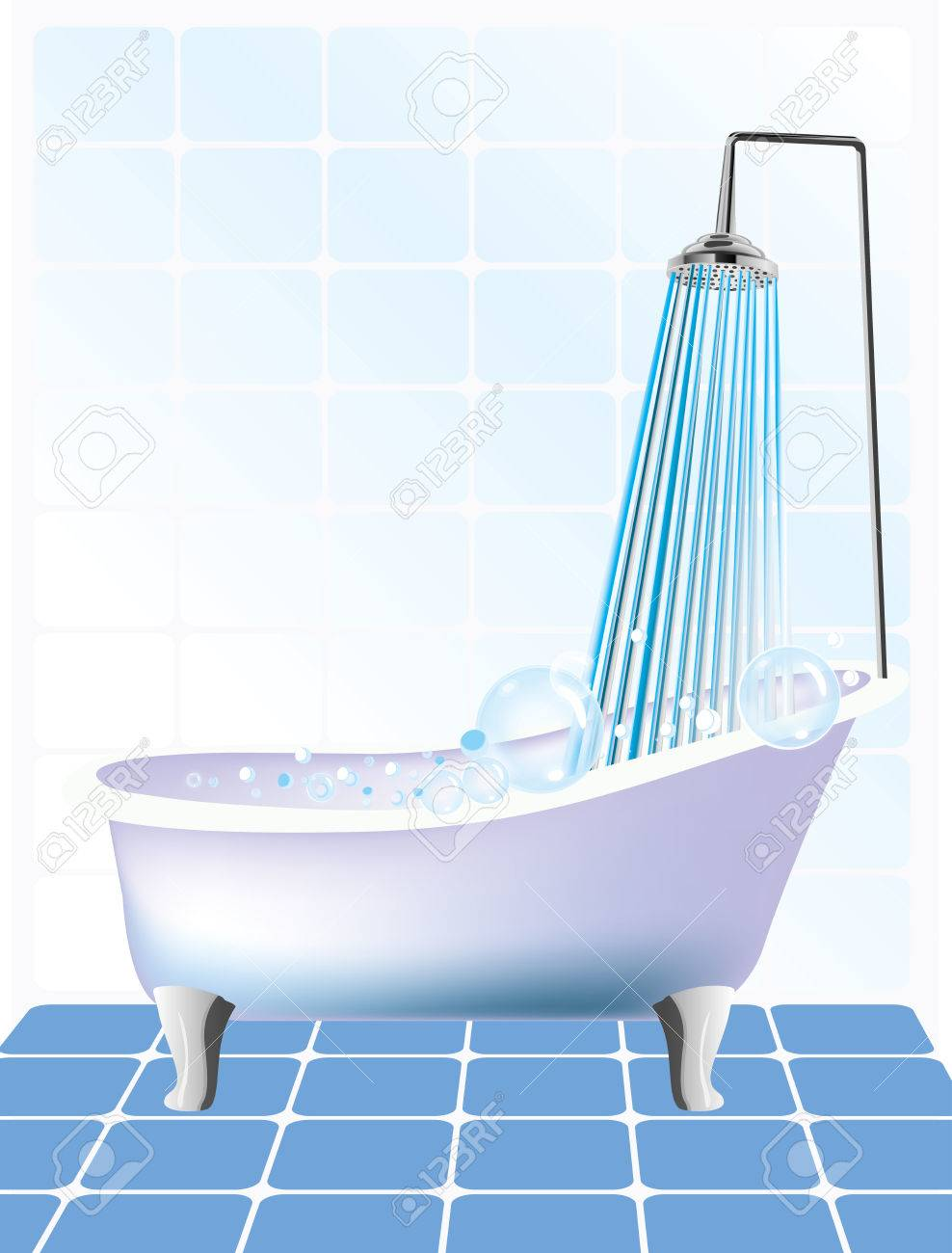 Vector Illustration Of Shower And Bathtub Royalty Free Cliparts ...