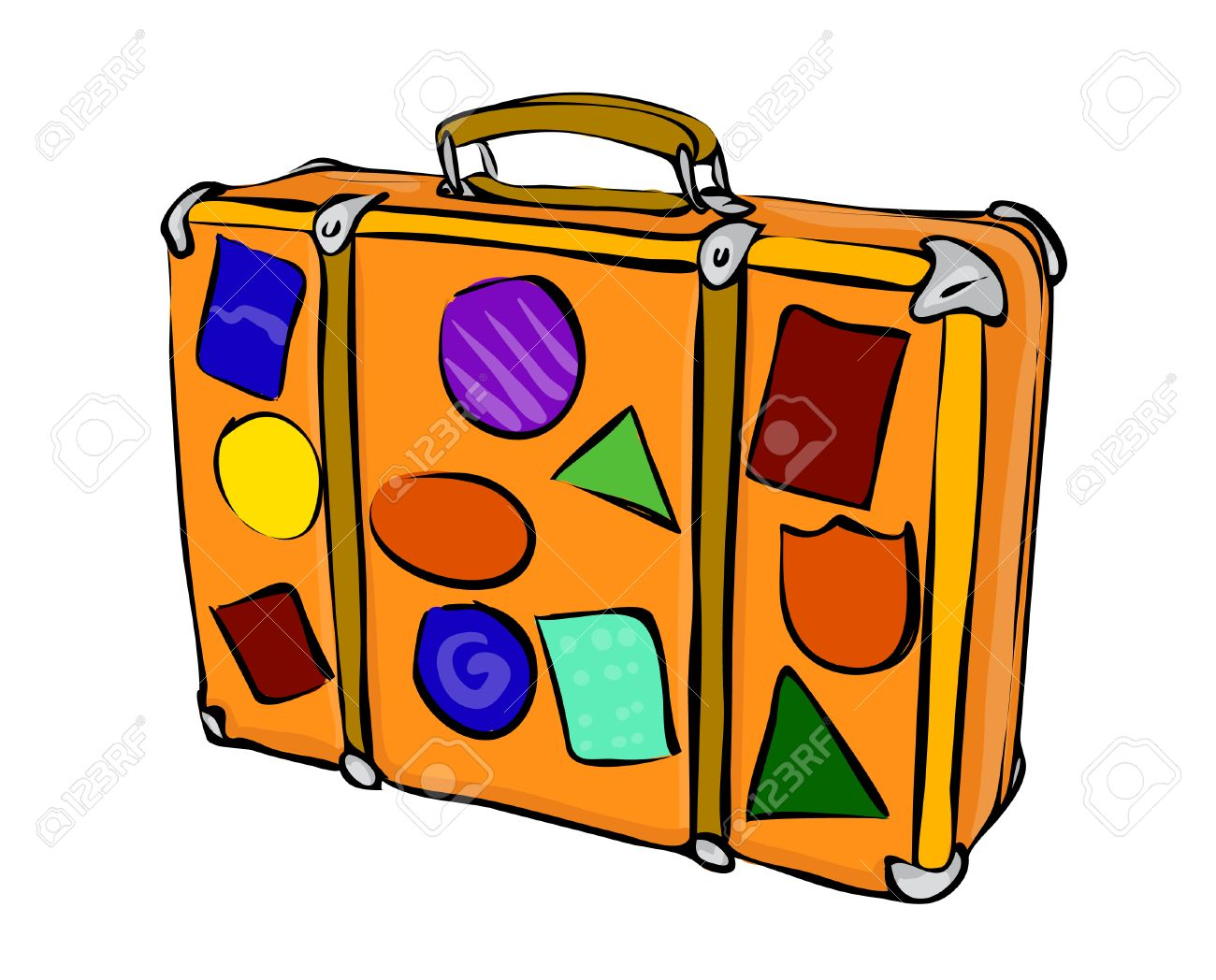 drawing of a suitcase with travel stickers traveler royalty free