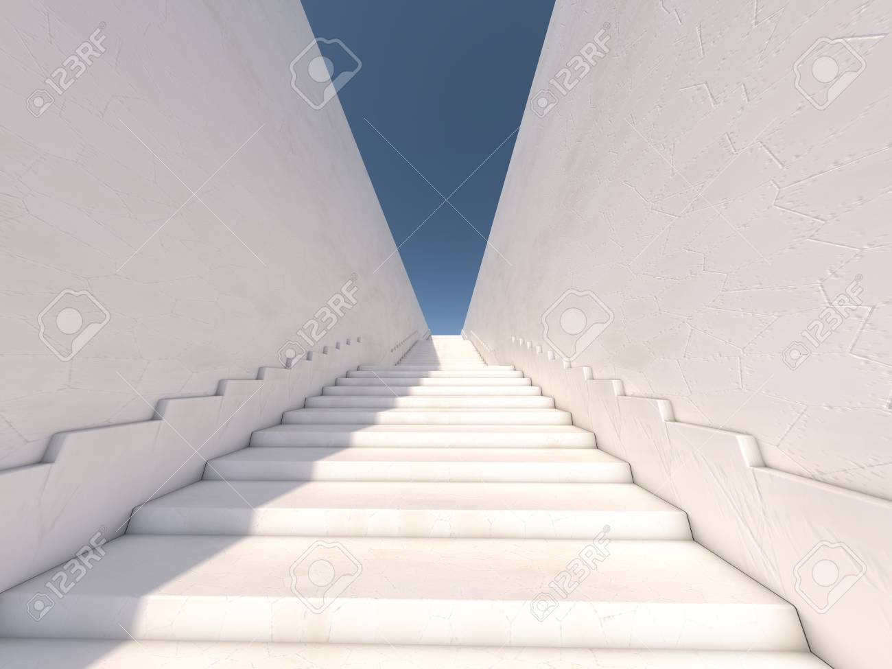 Architectural Concept With Stairs. 3D Rendering Stock Photo   74918574