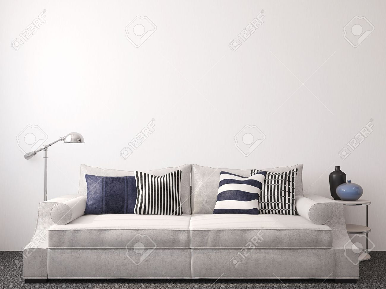 Modern Living Room Interior With Couch Near Empty White Wall. 3d Render.  Imagens
