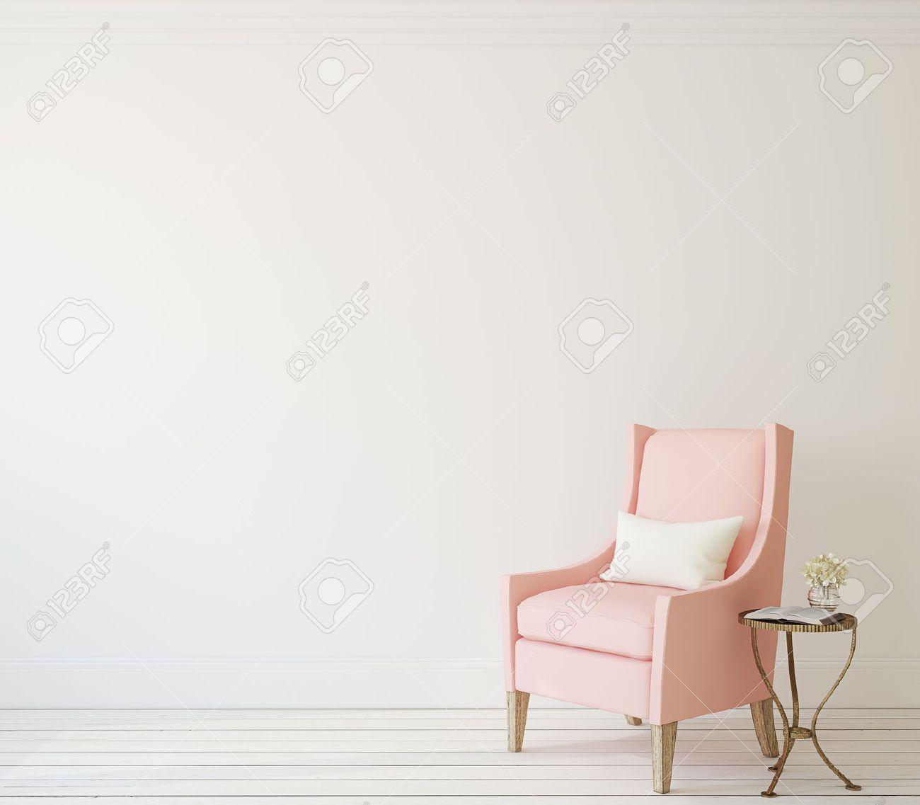 Beige modern armchair - Modern Armchair Interior With Pink Armchair Near White Wall 3d Render Stock Photo