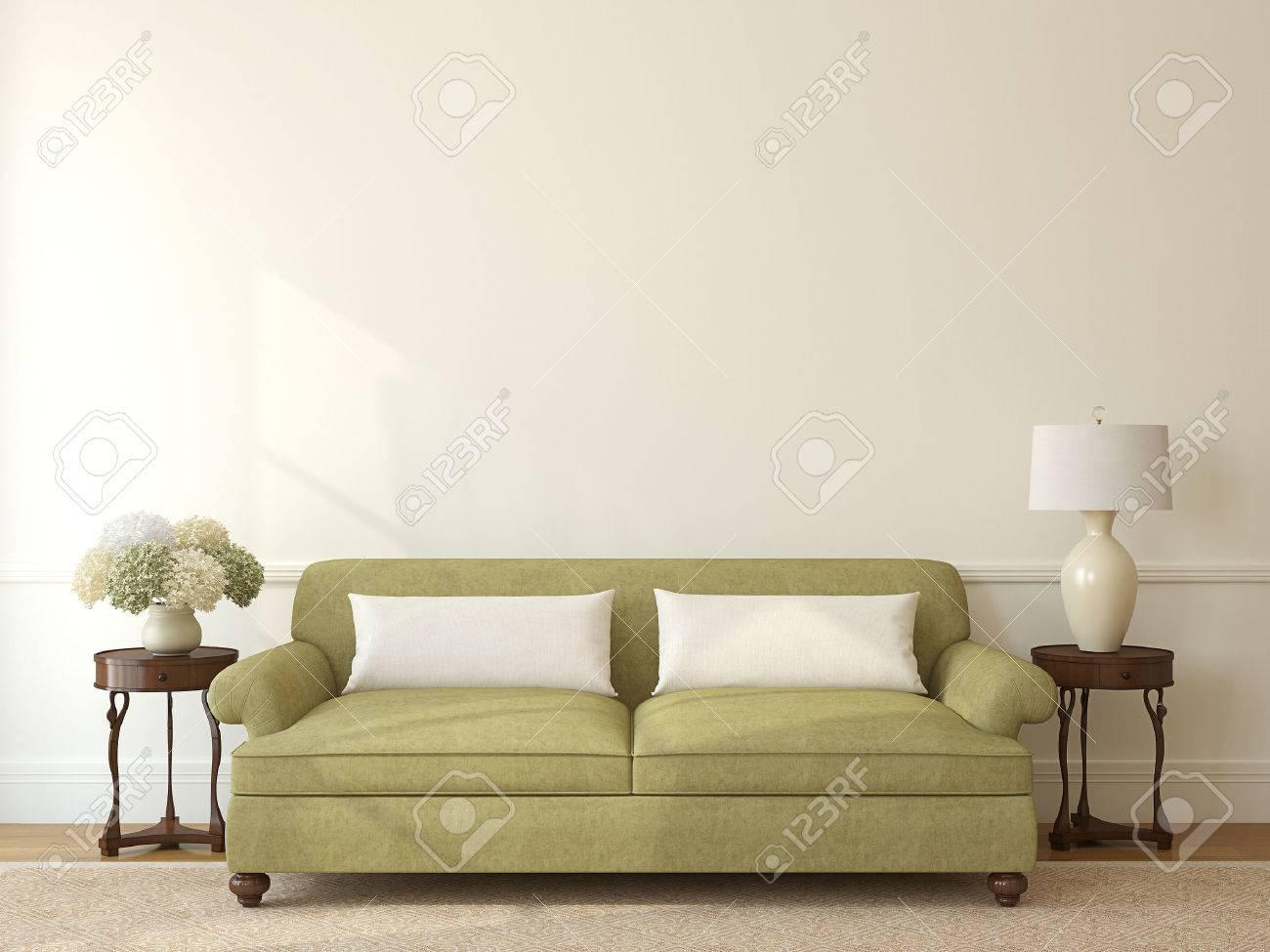 Klassisches Wohnzimmer Interieur Mit Grünen Sofa In Der Nähe Leer Beige Wand.  3D Darstellung