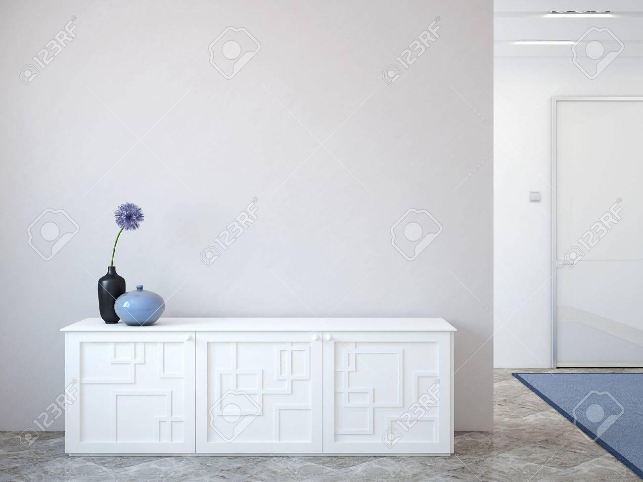 Moderner Flur Mit Kommode In Der Nahe Von Leere Graue Wand