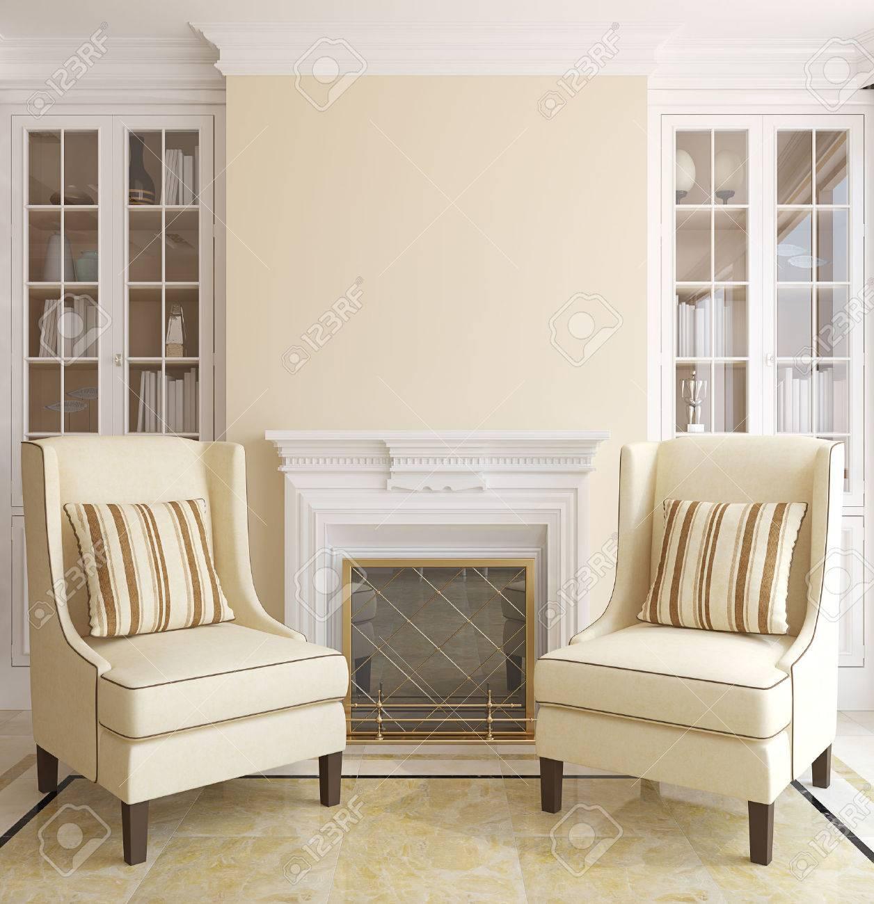 Salon intérieur moderne avec cheminée. 3d render.