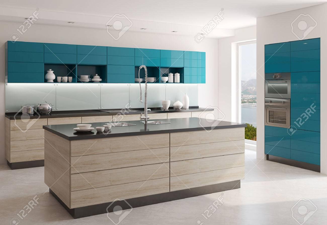 Interno Di Cucina Moderna. Rendering 3D. Foto Dietro La Finestra è ...