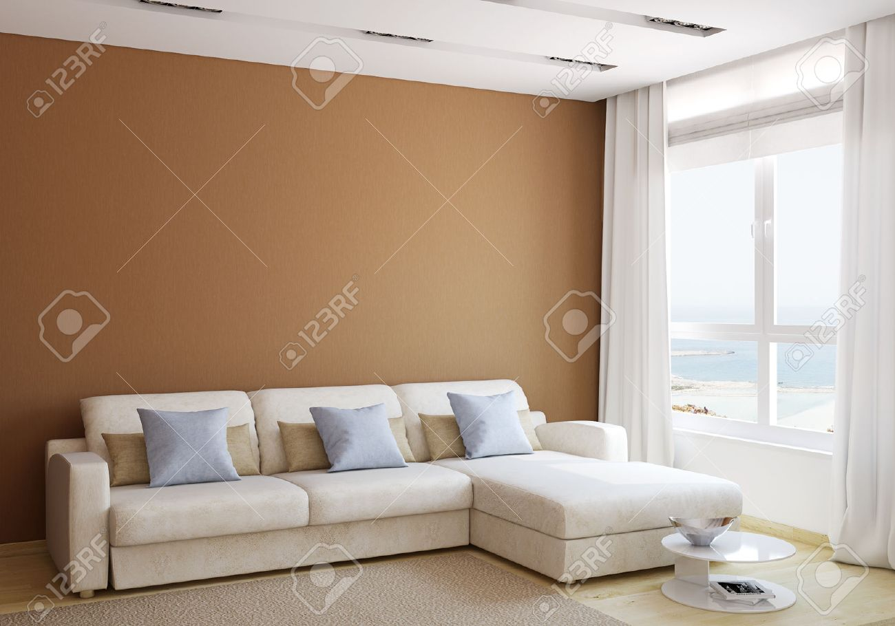 Modern Living Room Interior With White Couch Near Empty Brown Wall. 3d  Render.
