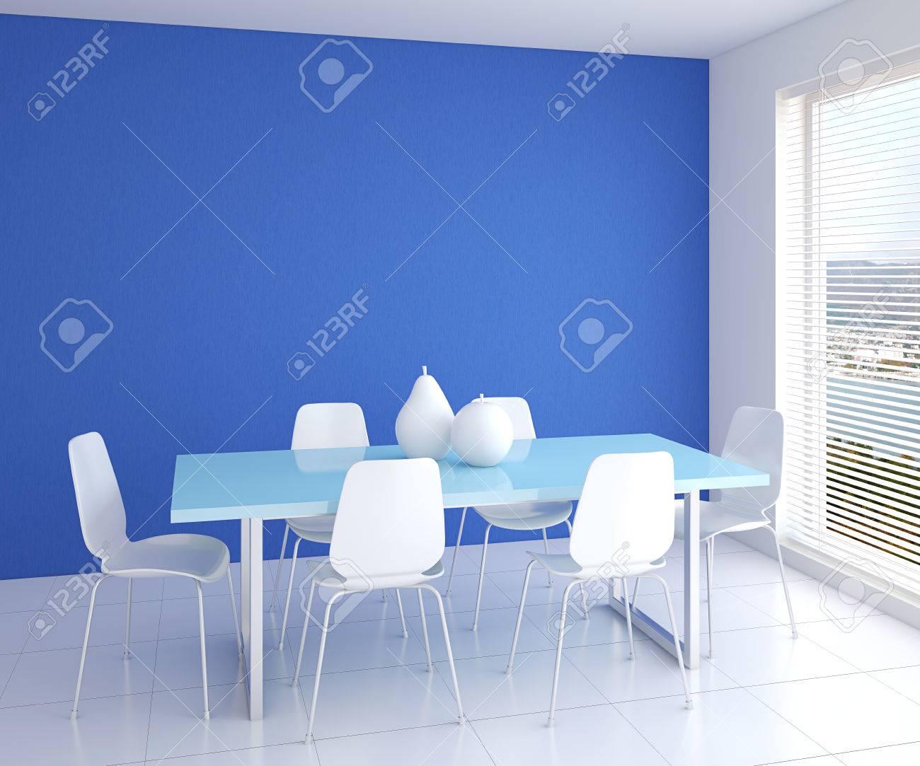 Moderne Esszimmer Interieur Mit Tisch Und Sechs Weiße Stühle In Der Nähe  Von Leere Blaue Wand