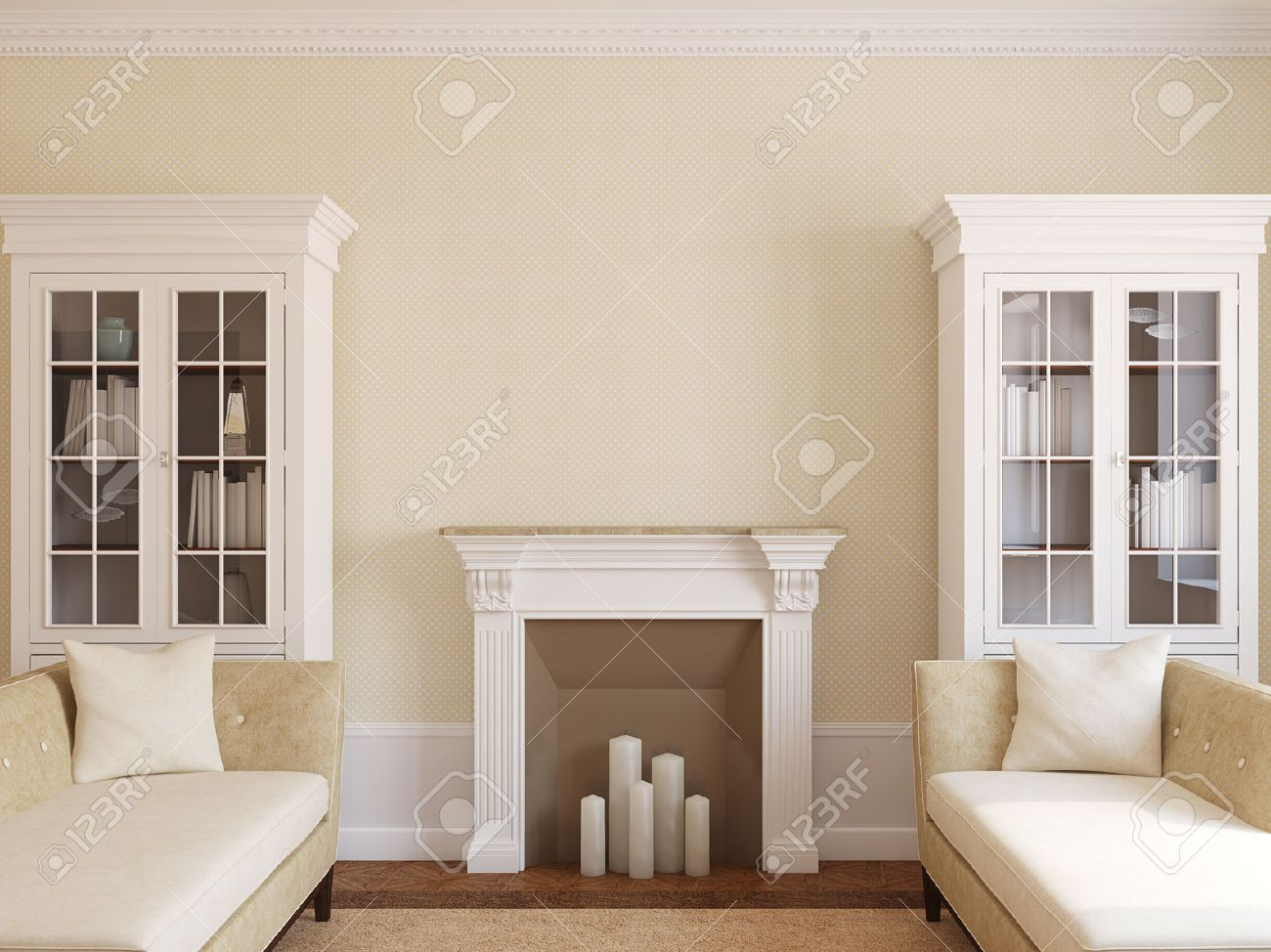 Modern Living-room Interior With Fireplace. 3d Render. Stock Photo ...