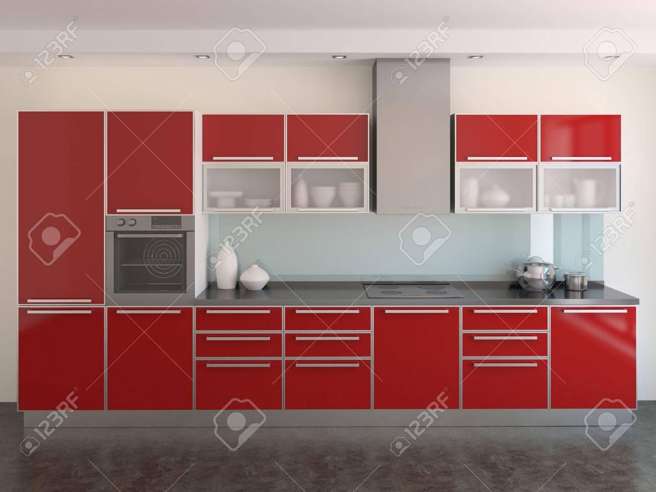 Banque Du0027images   Intérieur De La Cuisine Moderne Rouge