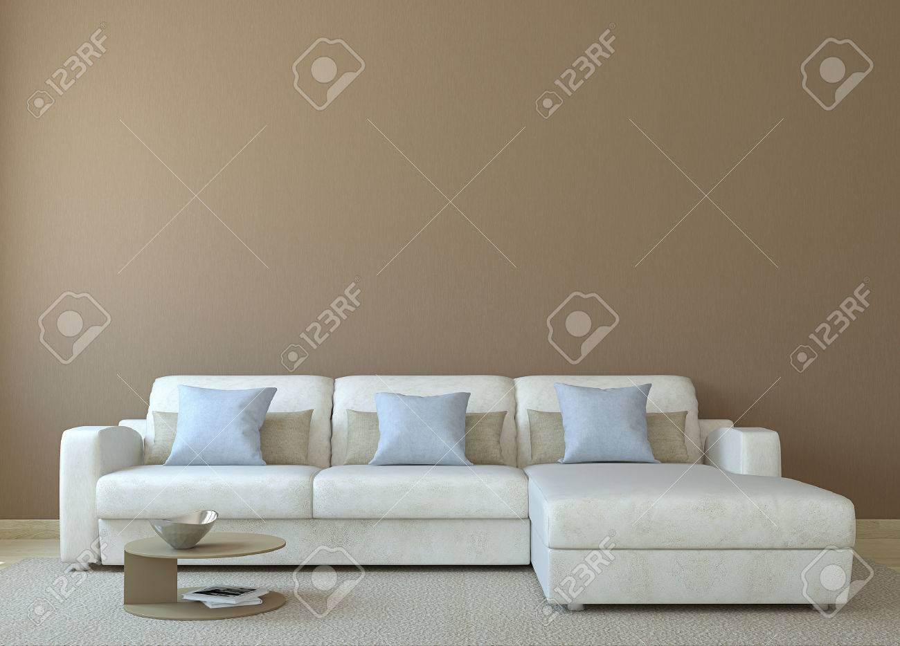 Moderne Wohnzimmer Interieur Mit Weißen Couch In Der Nähe Von Leere Braune  Wand. 3D