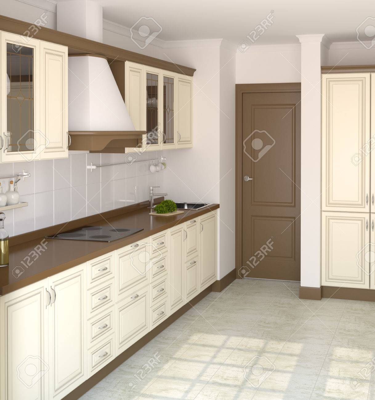 Cuisine blanche classique dans la maison moderne