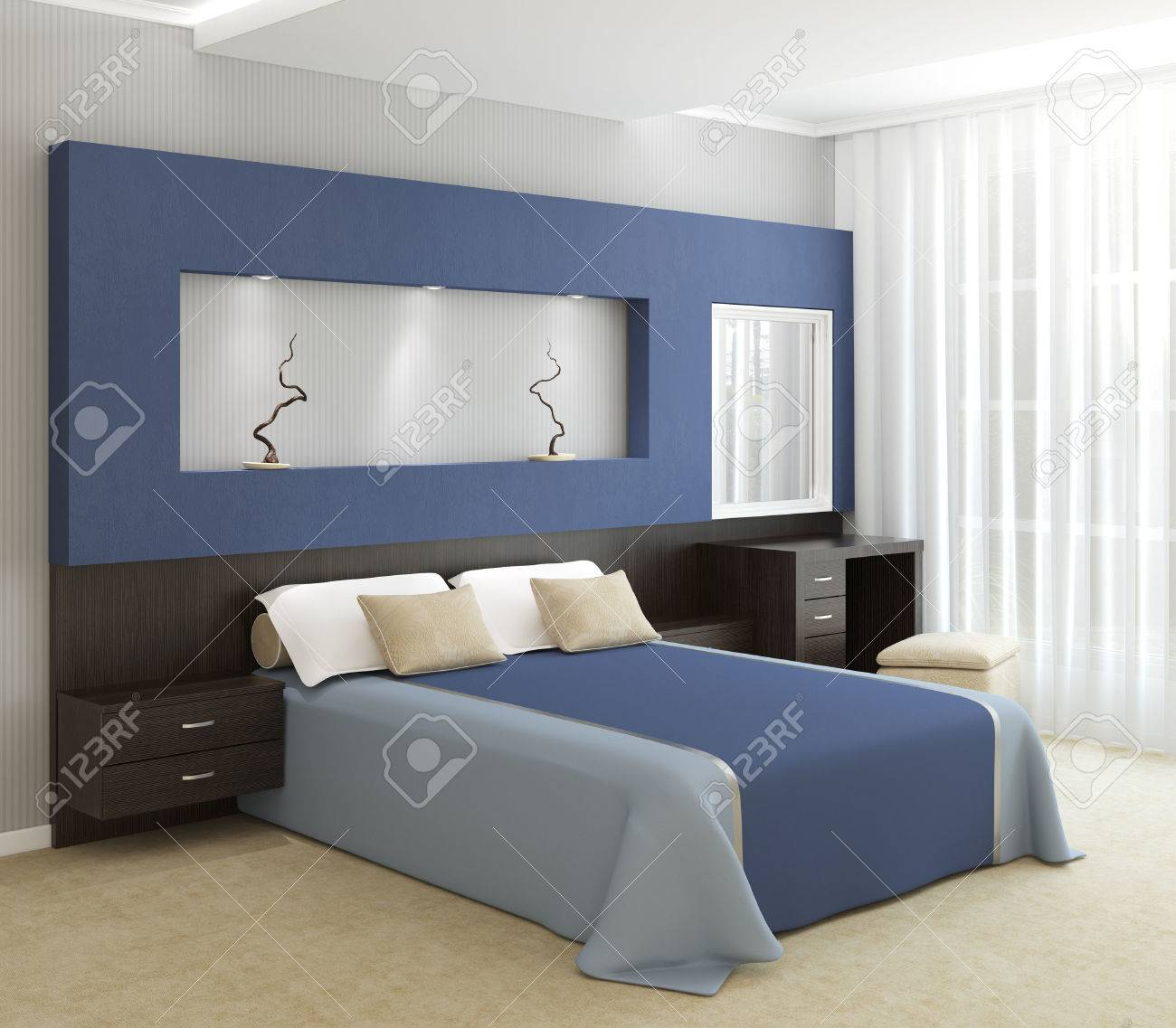 modern bedroom interior 3d render stock photo 39684271