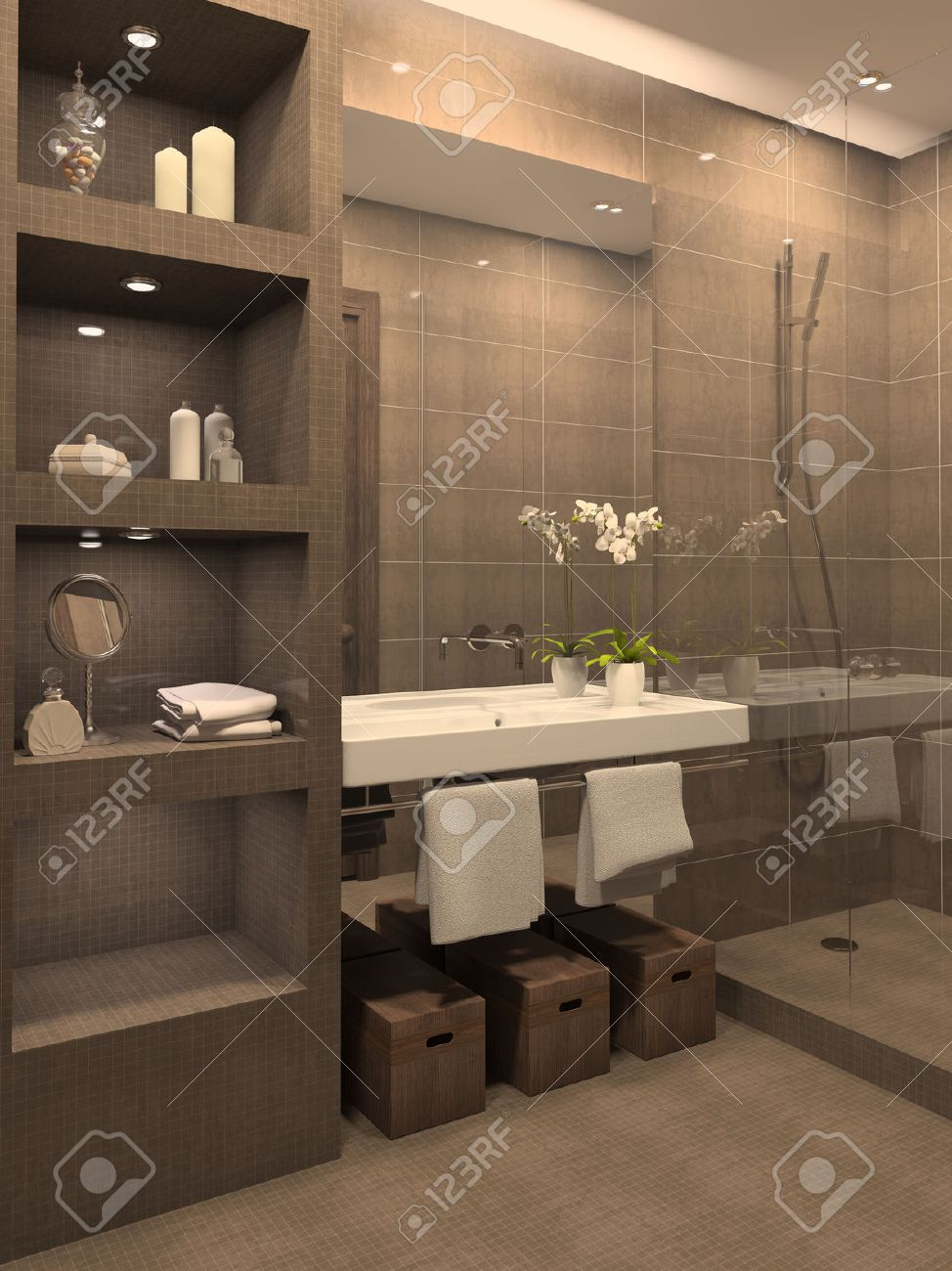 modern bathroom interior. 3d render. stock photo, picture and