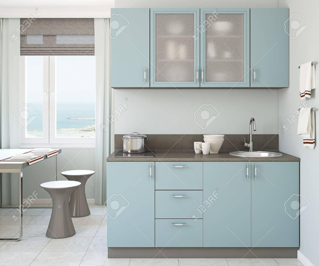 Moderne Kleine Blaue Kuche 3d Render Lizenzfreie Fotos Bilder Und