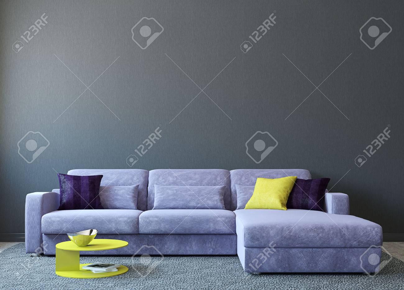 Moderne Wohnzimmer Interieur Mit Sofa In Der Nähe Von Leere Graue ...