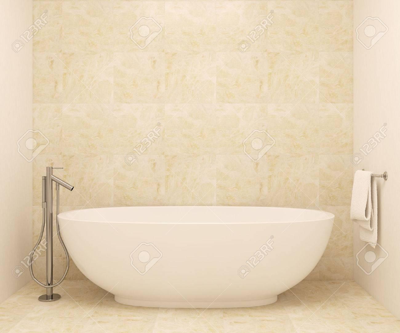 Interior Del Cuarto De Baño Moderno. 3d. Fotos En Cuadros Fue Hecha ...