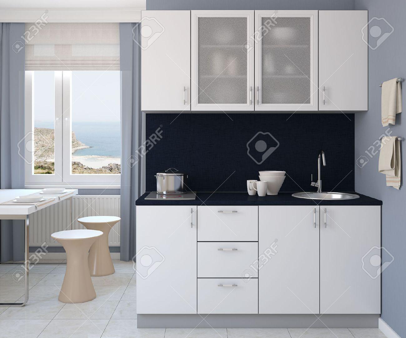 Petite Cuisine Moderne Blanc. 3d Render. Photo Derrière La Fenêtre A ...