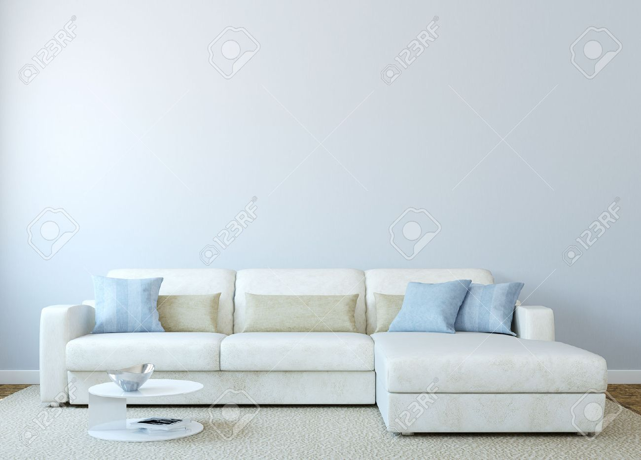 Empty living room with carpet - Beige Carpet Modern Living Room Interior With White Couch Near Empty Blue Wall