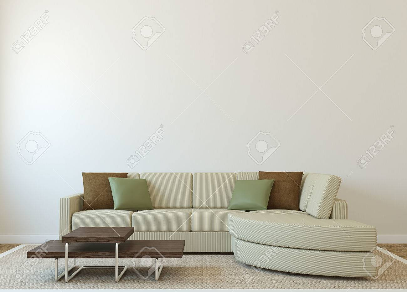 Modern Living-room Interior With Couch Near Empty Beige Wall ...