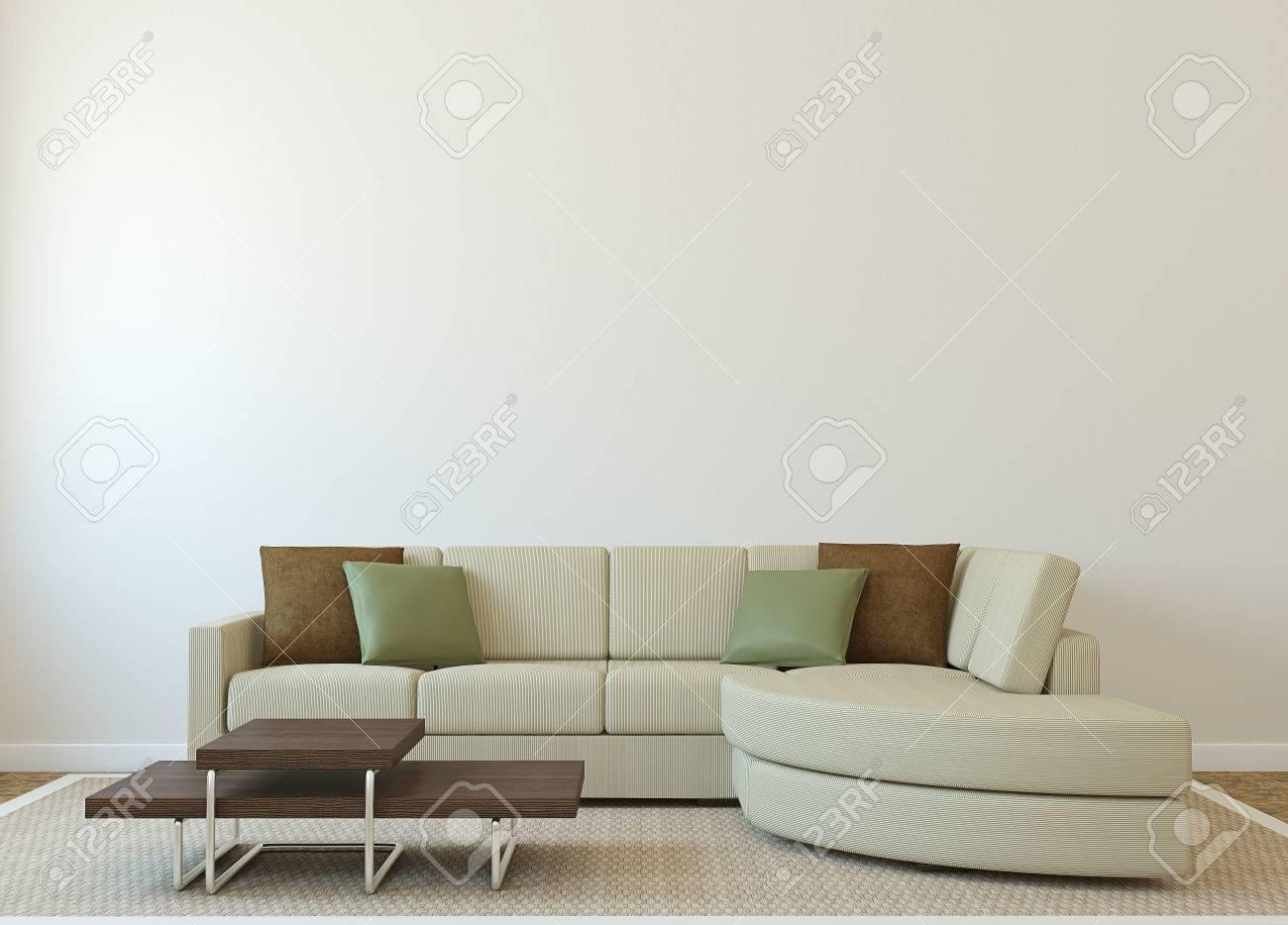 Moderne Wohnzimmer-Interieur Mit Couch In Der Nähe Leer Beige Wand ...