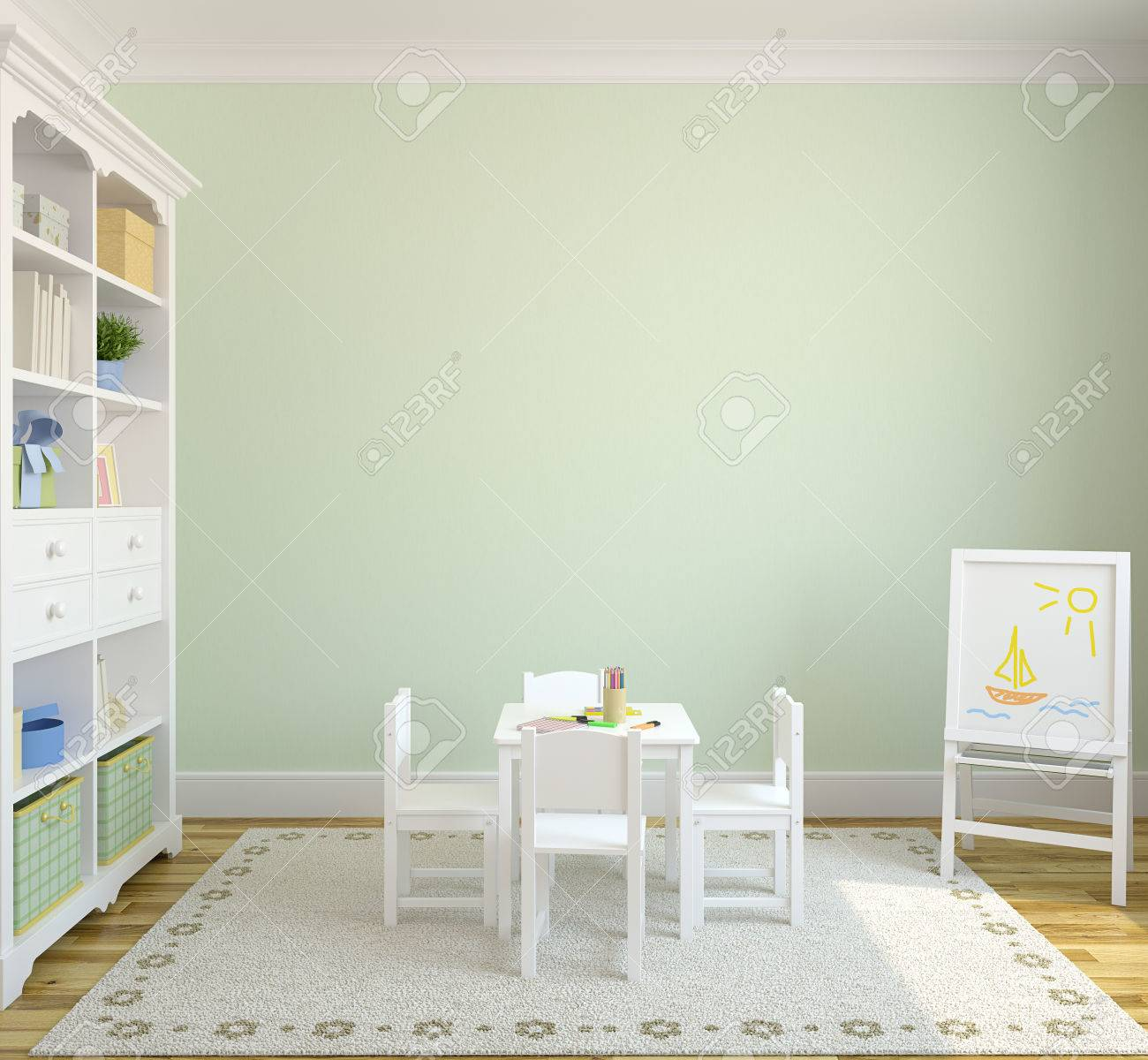 Colorful playroom interior  3d render  Pictures in frames was