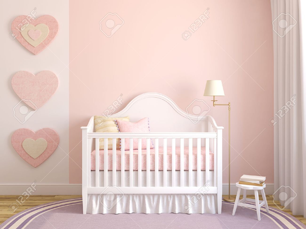 Colorful interior of nursery. Frontal view. 3d render. Stock Photo - 42920993