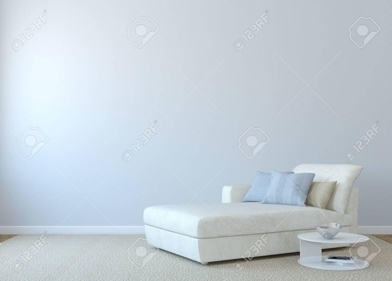 Beautiful Moderne Wohnzimmer Interieur Mit Weißen Couch In Der Nähe Von Leeren Blauen  Wand. 3D
