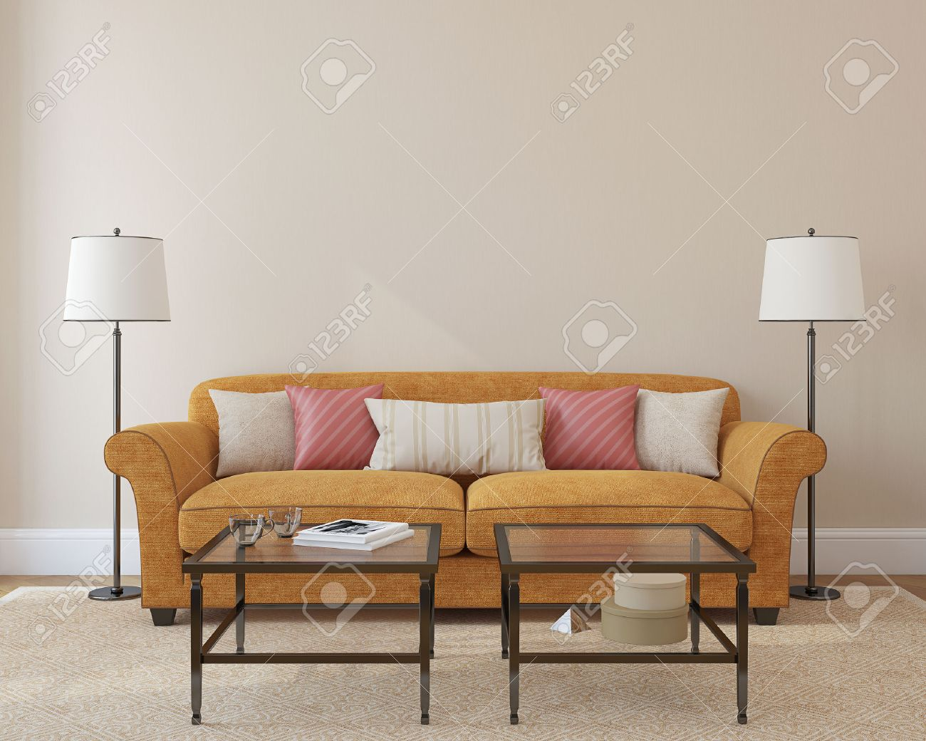 Orange modern living room - Modern Living Room Interior With Orange Couch Near Empty Beige Wall 3d Render