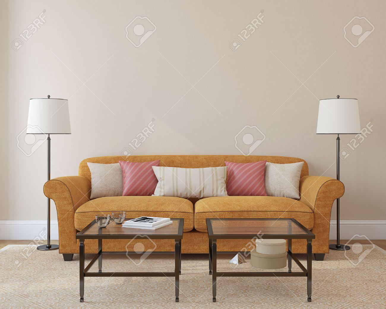 Moderne Wohnzimmer Innenraum Mit Orange Couch In Der Nähe Leer Beige ...