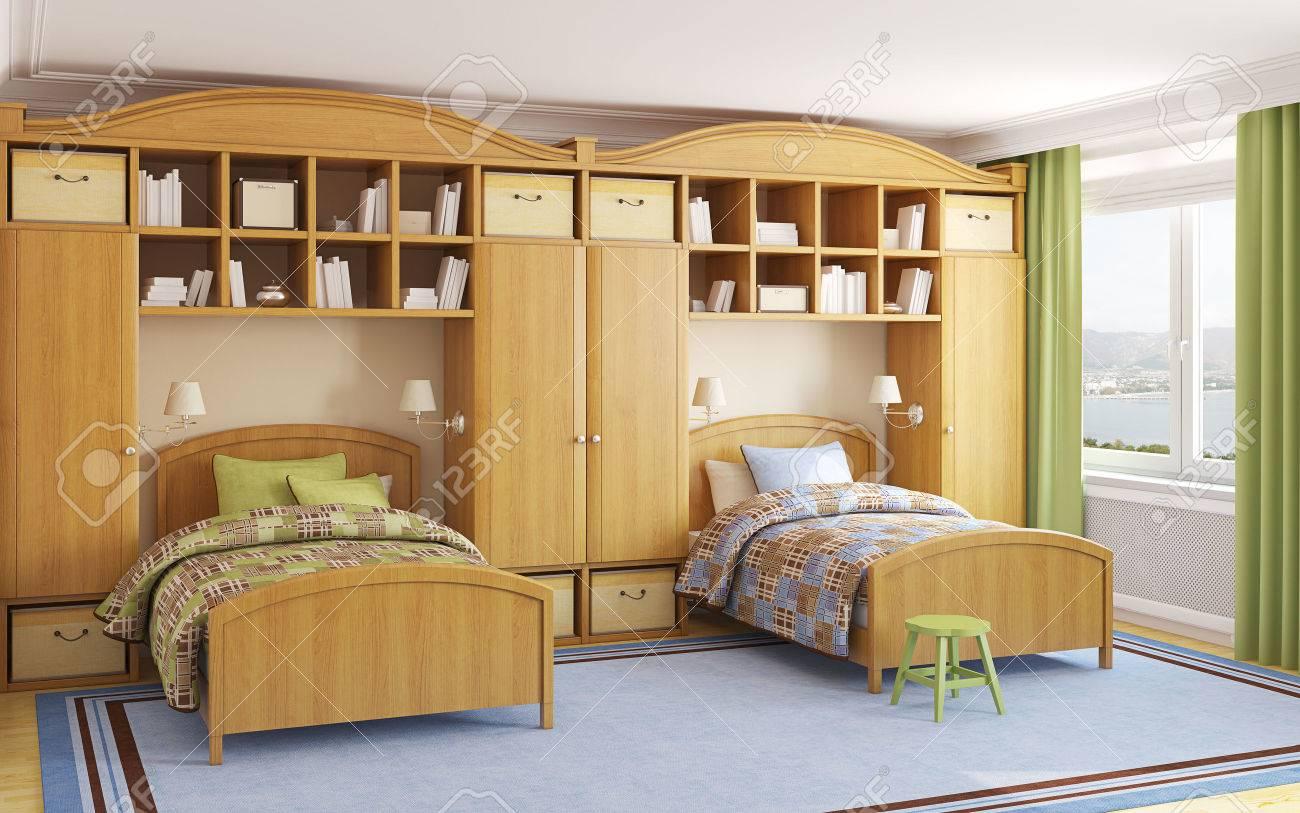 Interior Del Cuarto De Niños Para Dos Niños. 3d. Foto Detrás De La ...