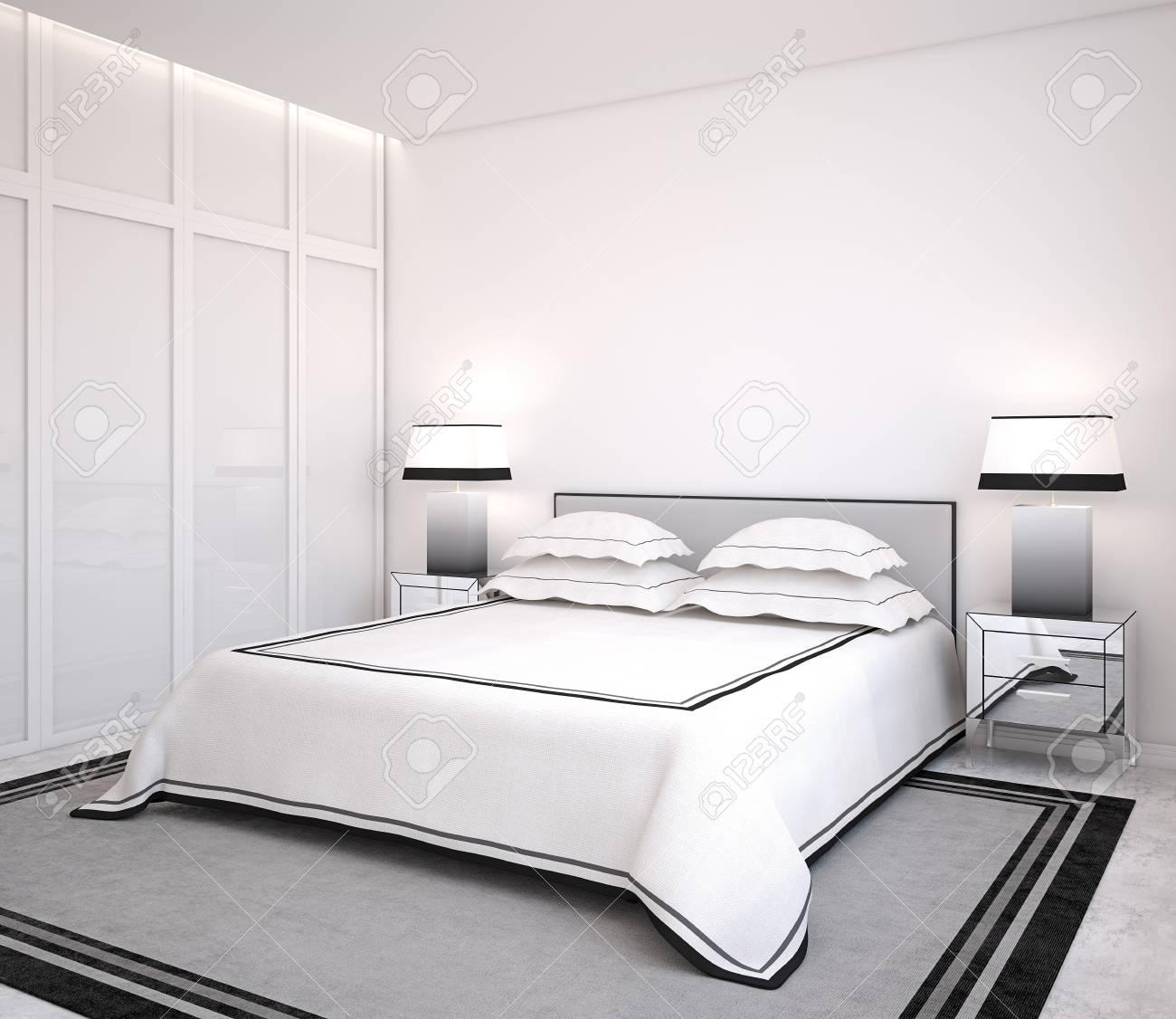 modern bedroom interior 3d render stock photo 43148532