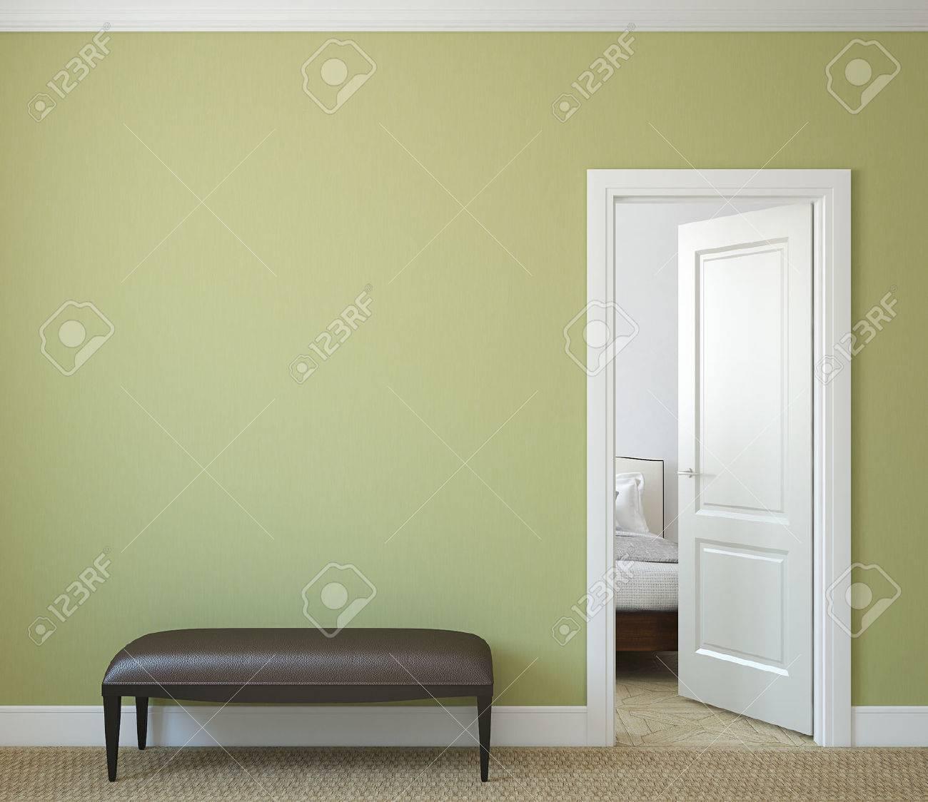 Modern hallway with open door. 3d render. - 43628175