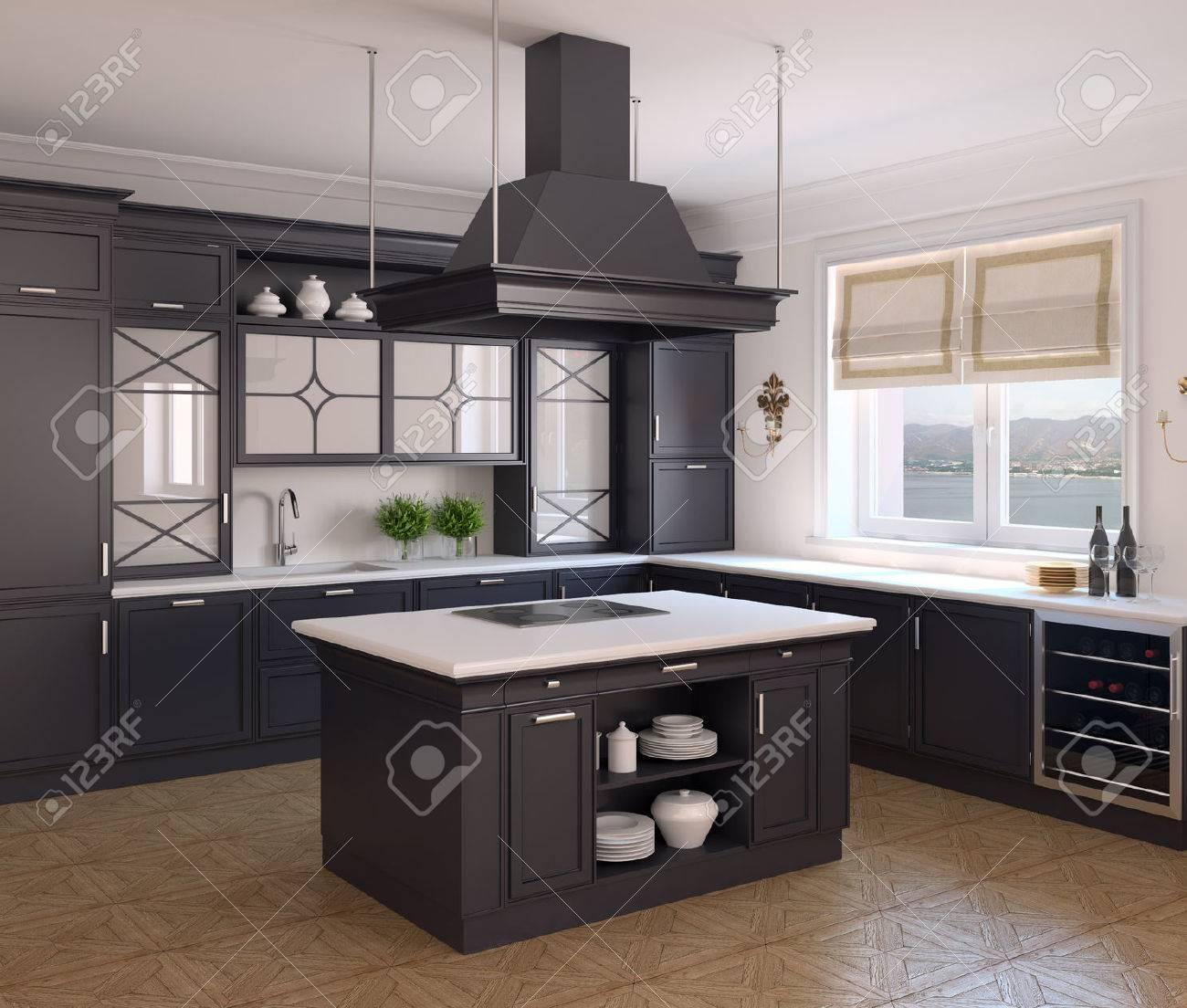 Interno Della Classica Cucina Nera. Rendering 3D. Foto Dietro La ...