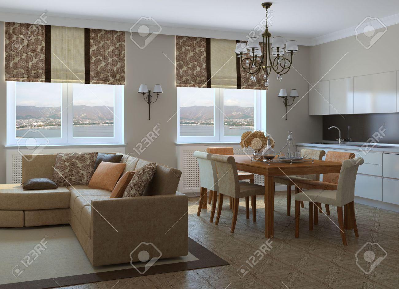 foto de archivo moderna sala de estar con comedor y cocina d foto detrs de la ventana fue hecha por m with disear cocina d
