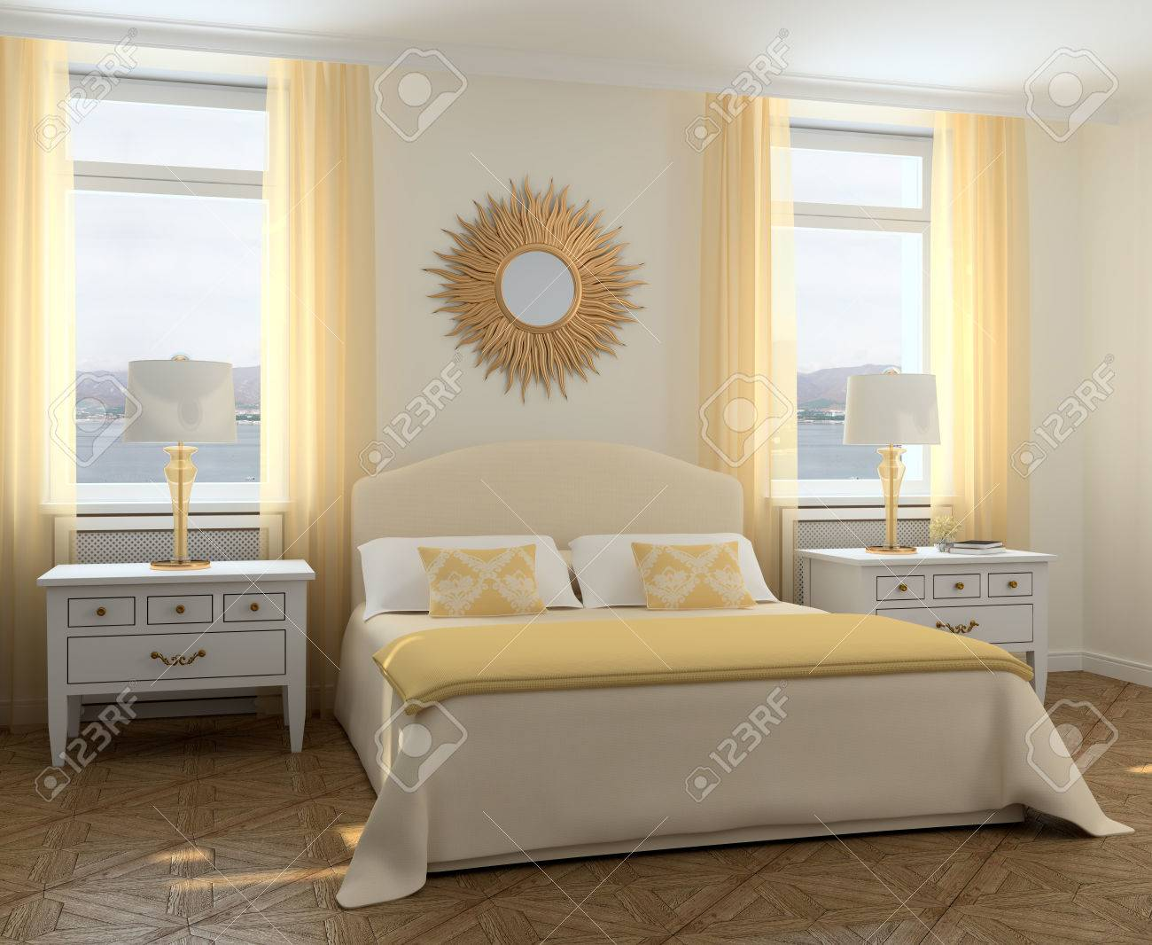 Dimensioni Finestre Camera Da Letto modern interior camera da letto. rendering 3d. foto dietro la finestra è  stata fatta da me.