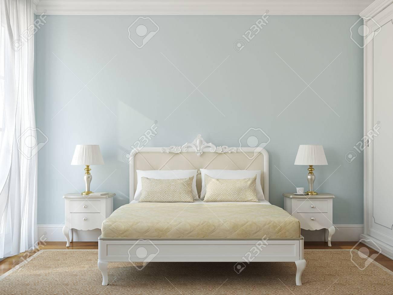 Classical bedroom interior. 3d render. - 44086351