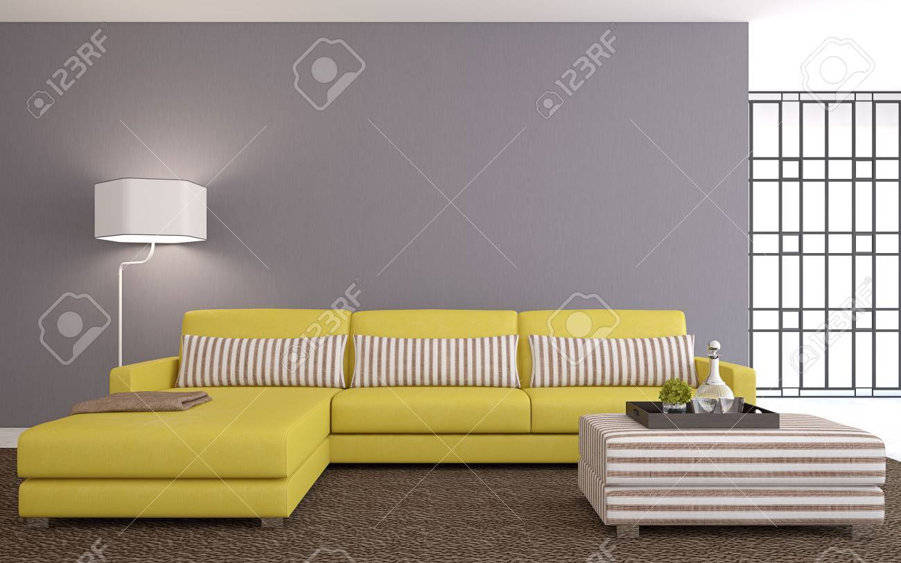 Modern living-room interior with yellow couch near empty gray wall. 3d render. - 44092744