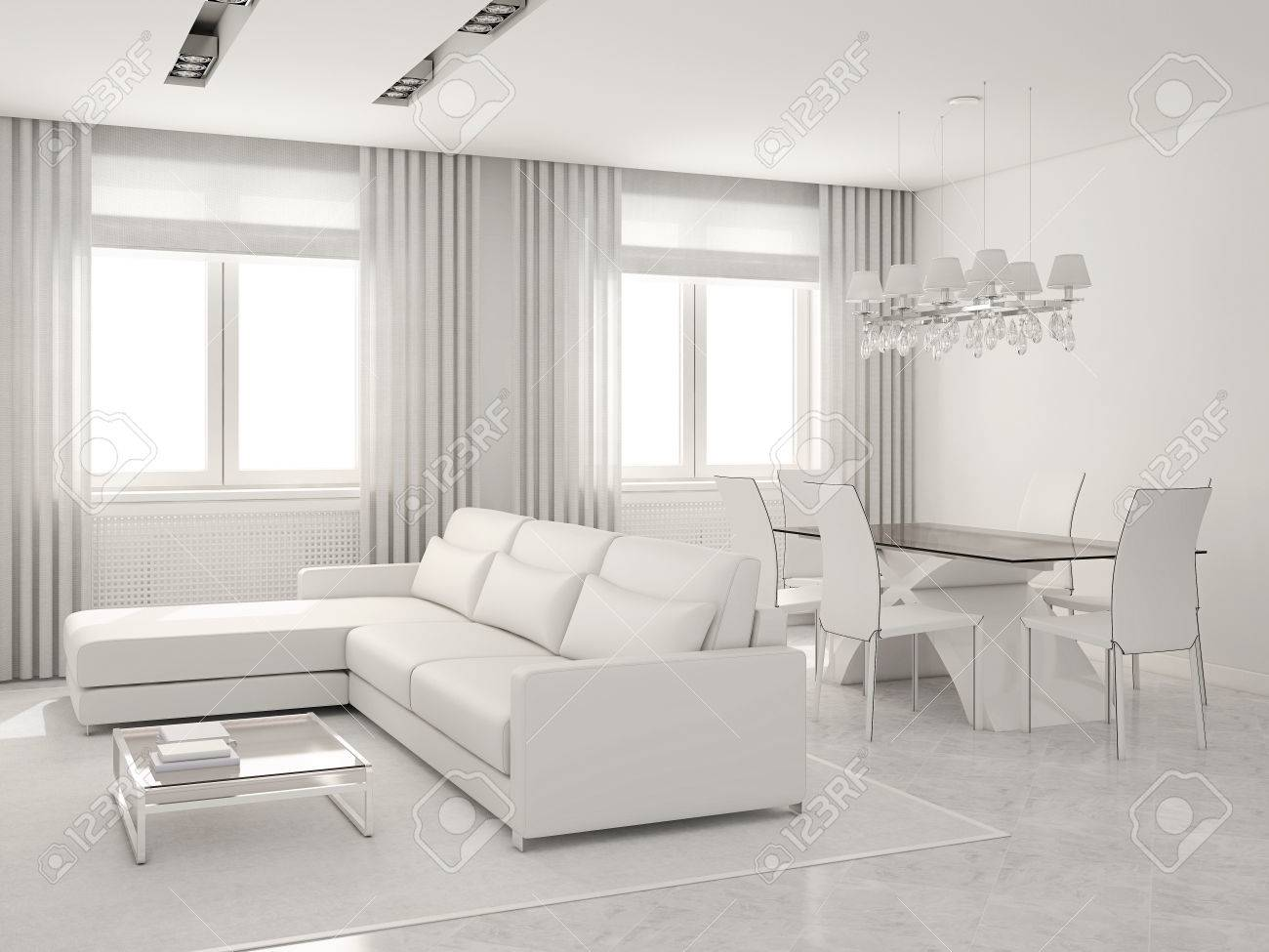 Modern White Interior Of Living-room And Dining-room. 3D Render ...