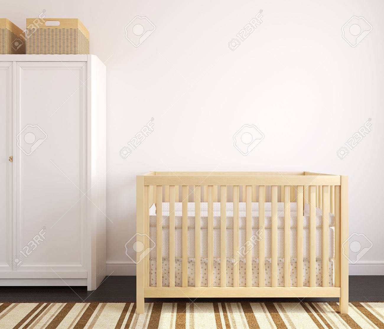 Cozy interior of nursery with wooden crib. Frontal view. 3d render. - 44828005
