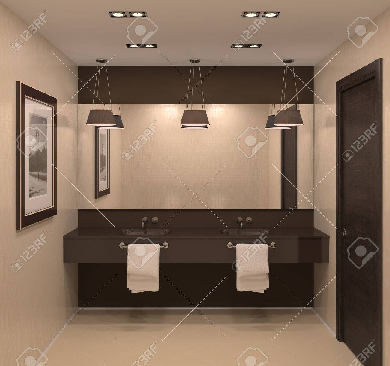 Modern bathroom interior. 3d render. - 44828750