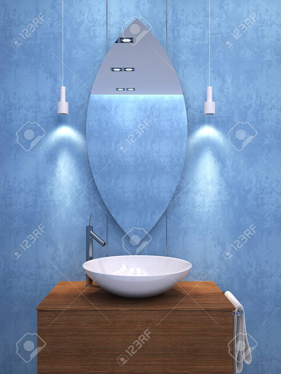 Modernes Blaues Badezimmer. 3d übertragen. Lizenzfreie Fotos, Bilder ...