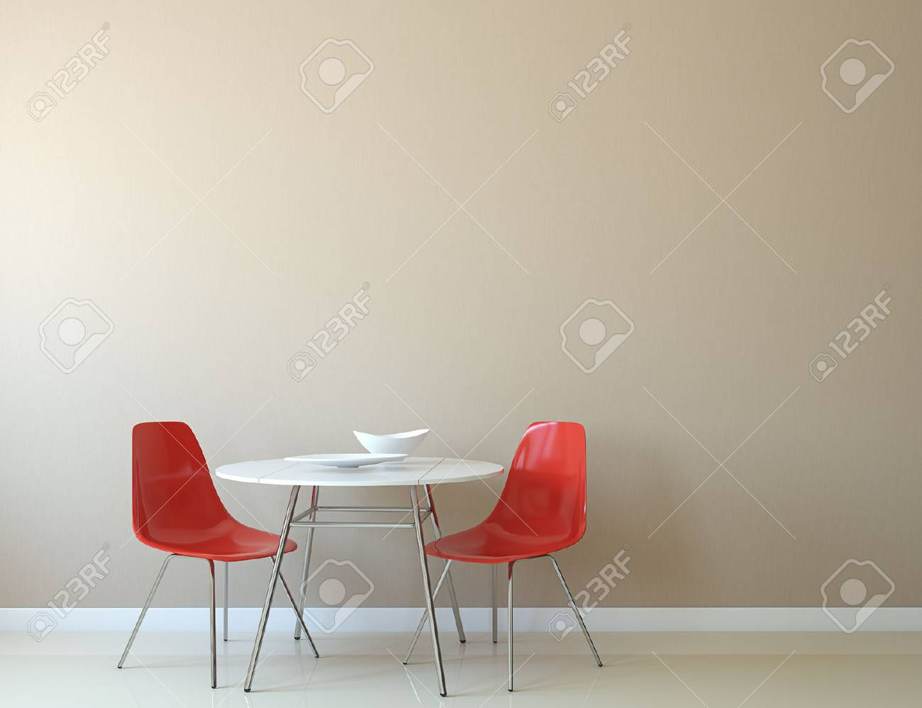 Kitchen Interior With Table And Two Red Chairs Near Empty Beige ...