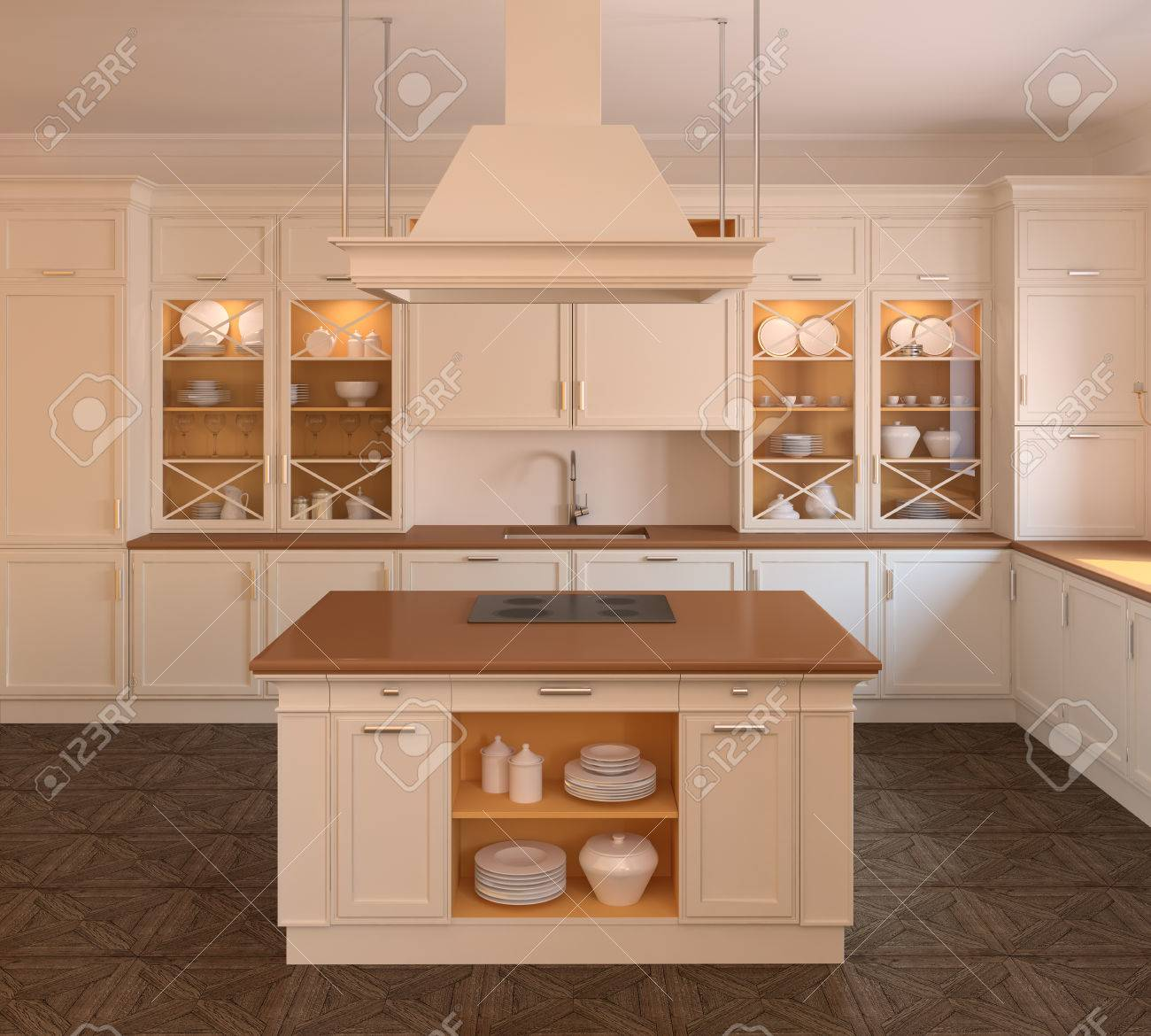 Innenraum Der Klassischen Weißen Küche. 3d Render Lizenzfreie Fotos ...