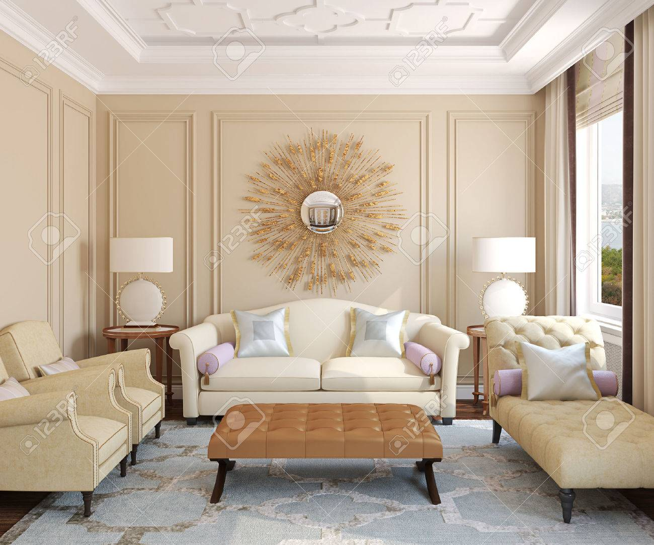 Luxury living-room interior. 3d render. Photo behind the window was made by me. - 45316482
