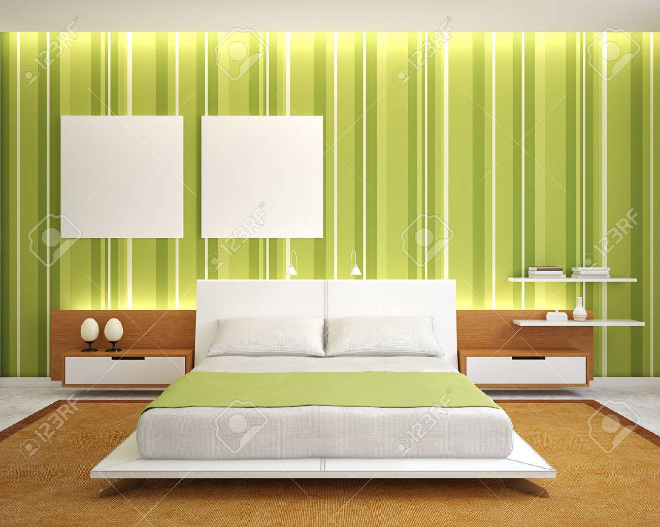 Modern Bedroom Interior With Green Walls And King-size Bed. 3d ...
