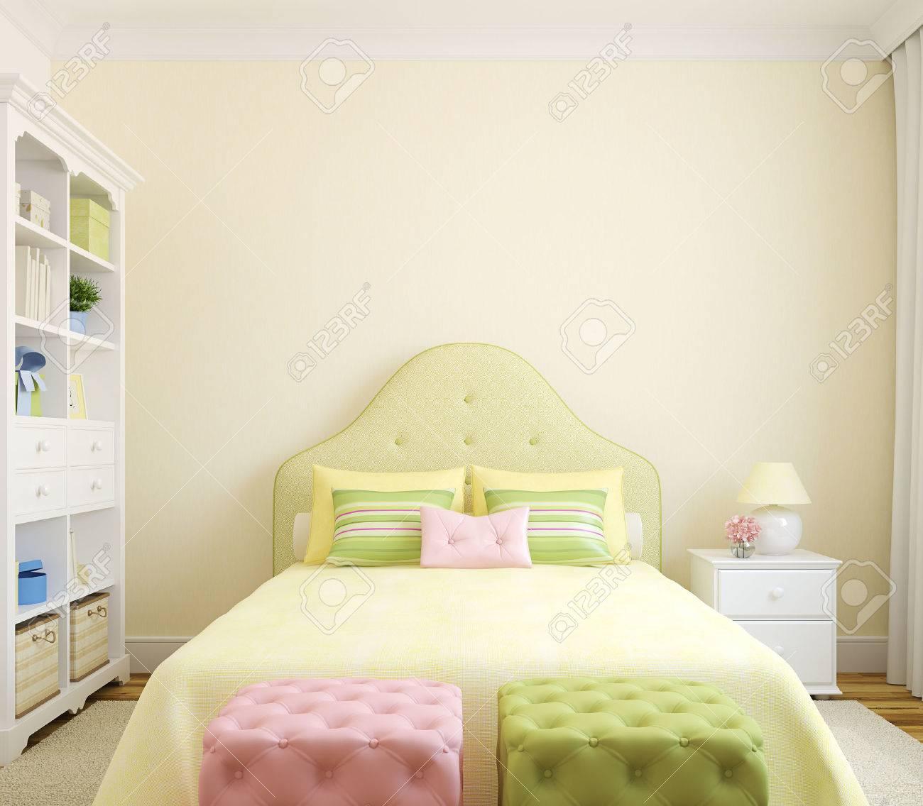 Interno camera da letto colorato per la ragazza. vista frontale ...